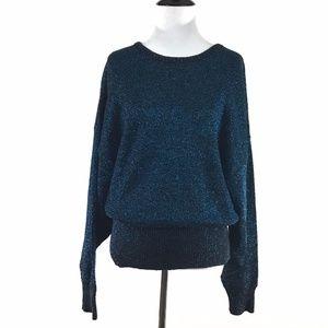 Vintage Pierre Cardin Metallic Sweater Turquoise L